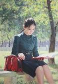 油画《读书的少女》朝鲜一