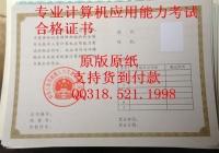 计算机应用能力考试合格证书河南省山东省